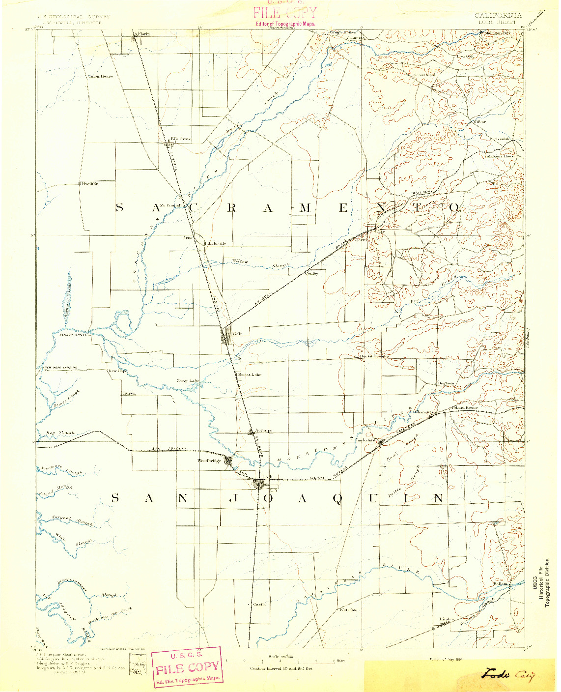 USGS 1:125000-SCALE QUADRANGLE FOR LODI, CA 1894
