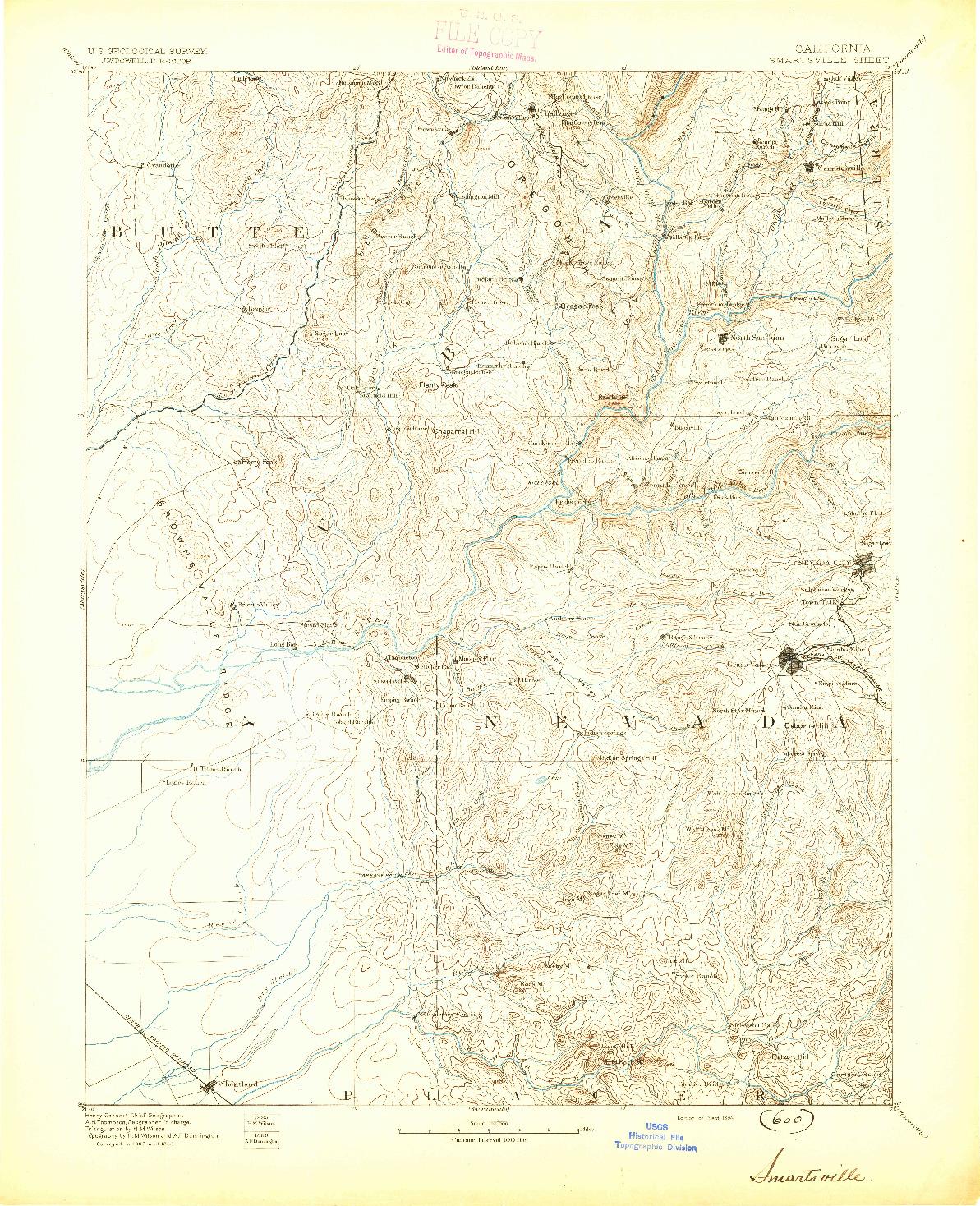 USGS 1:125000-SCALE QUADRANGLE FOR SMARTSVILLE, CA 1894
