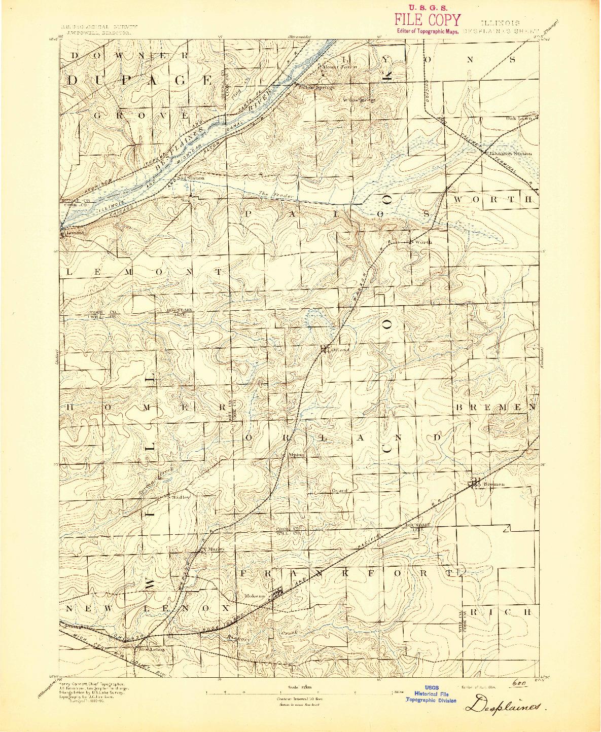 USGS 1:62500-SCALE QUADRANGLE FOR DES PLAINES, IL 1894