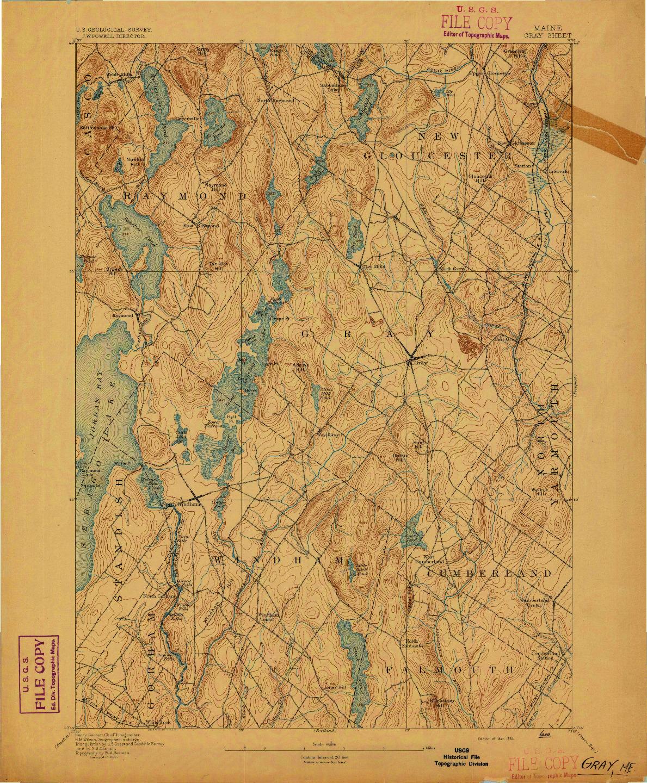 USGS 1:62500-SCALE QUADRANGLE FOR GRAY, ME 1894
