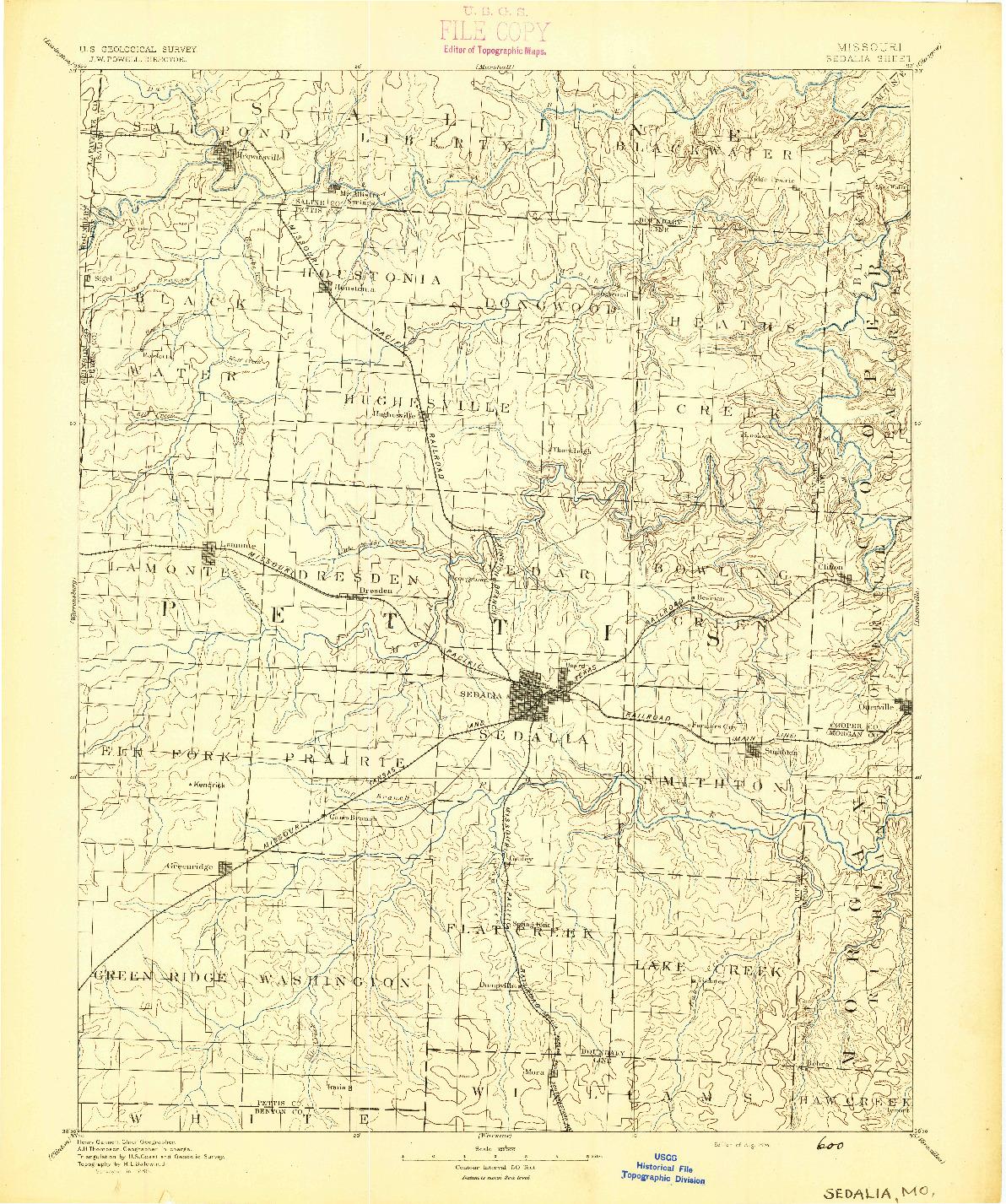 USGS 1:125000-SCALE QUADRANGLE FOR SEDALIA, MO 1894