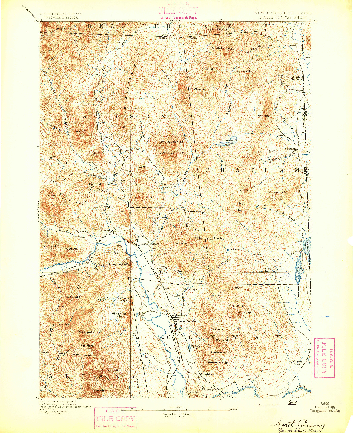 USGS 1:62500-SCALE QUADRANGLE FOR NORTH CONWAY, NH 1894