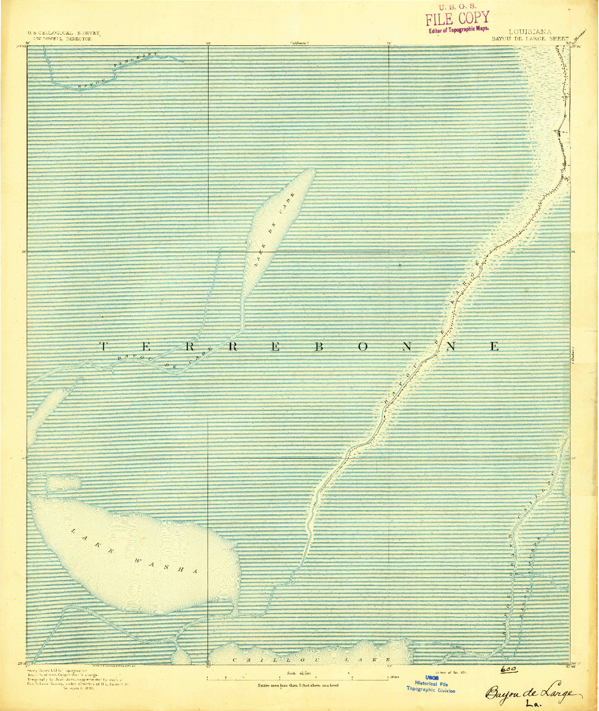 USGS 1:62500-SCALE QUADRANGLE FOR BAYOU DE LARGE, LA 1894