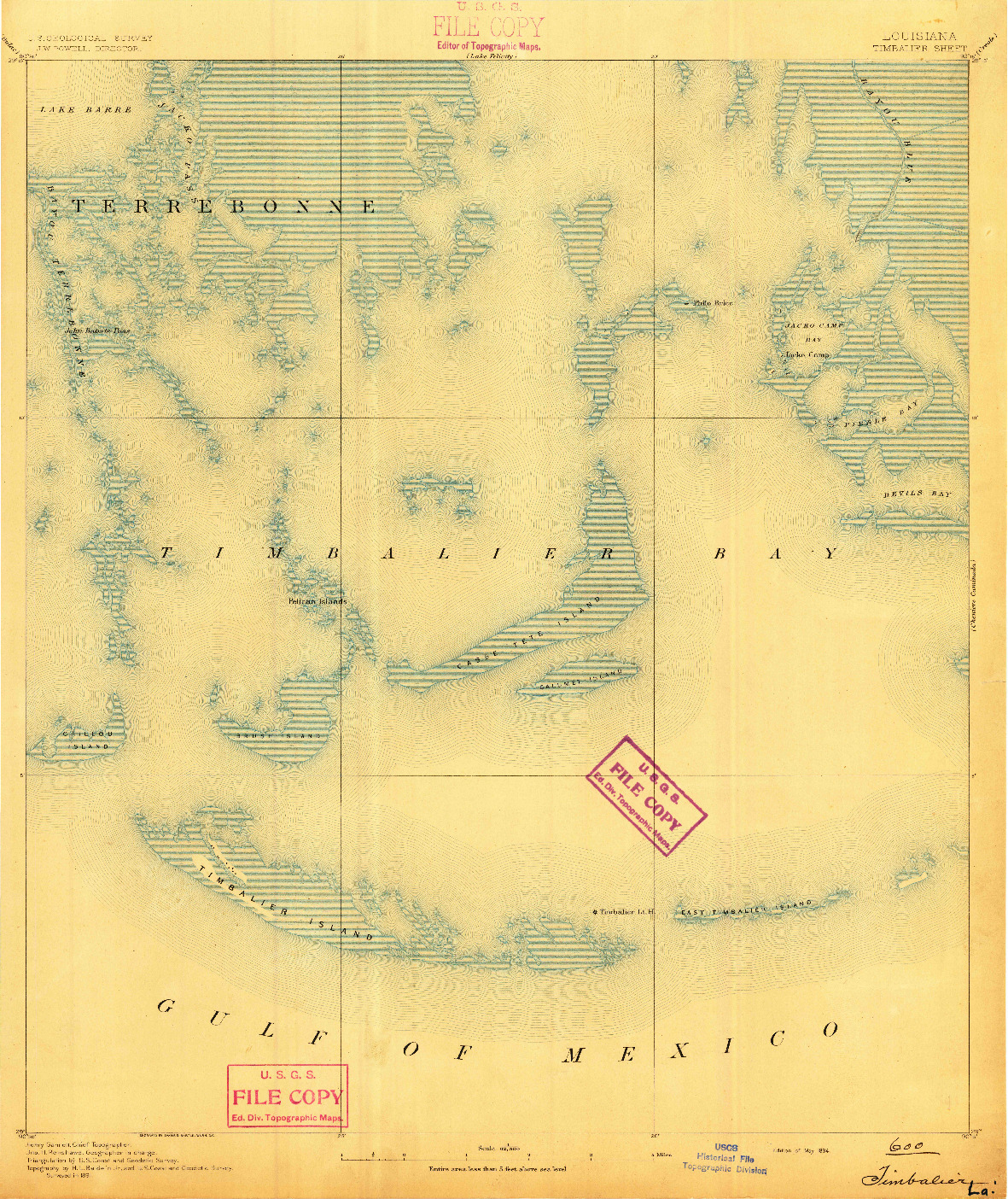 USGS 1:62500-SCALE QUADRANGLE FOR TIMBALIER, LA 1894