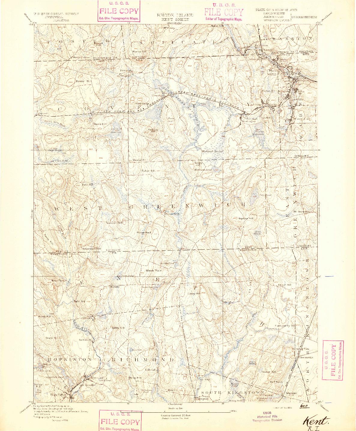 USGS 1:62500-SCALE QUADRANGLE FOR KENT, RI 1894
