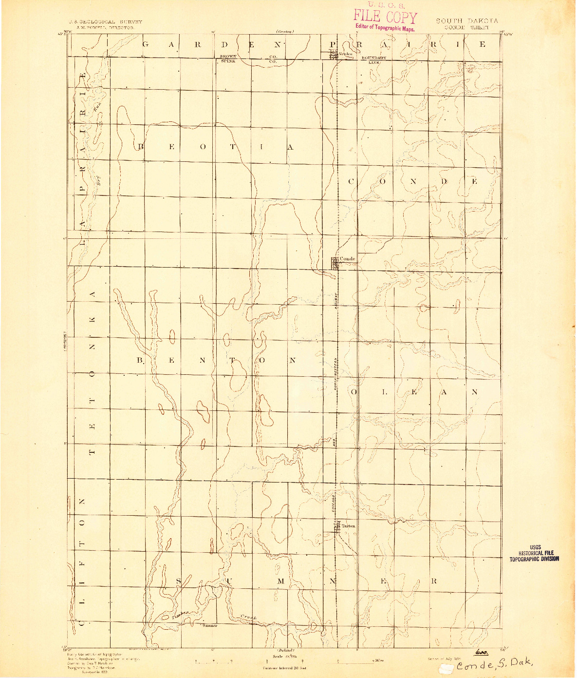 USGS 1:62500-SCALE QUADRANGLE FOR CONDE, SD 1894