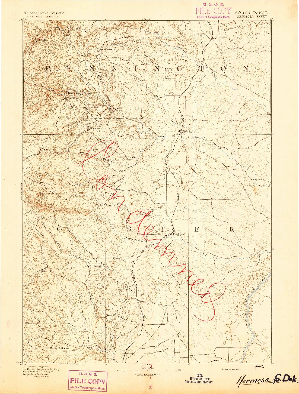 USGS 1:125000-SCALE QUADRANGLE FOR HERMOSA, SD 1894