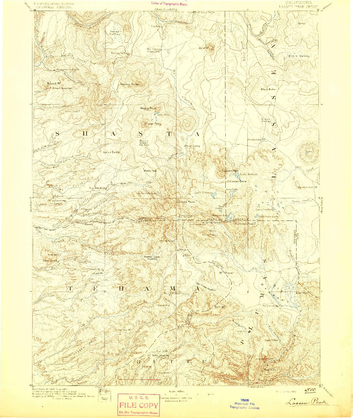 USGS 1:250000-SCALE QUADRANGLE FOR LASSEN PEAK, CA 1894
