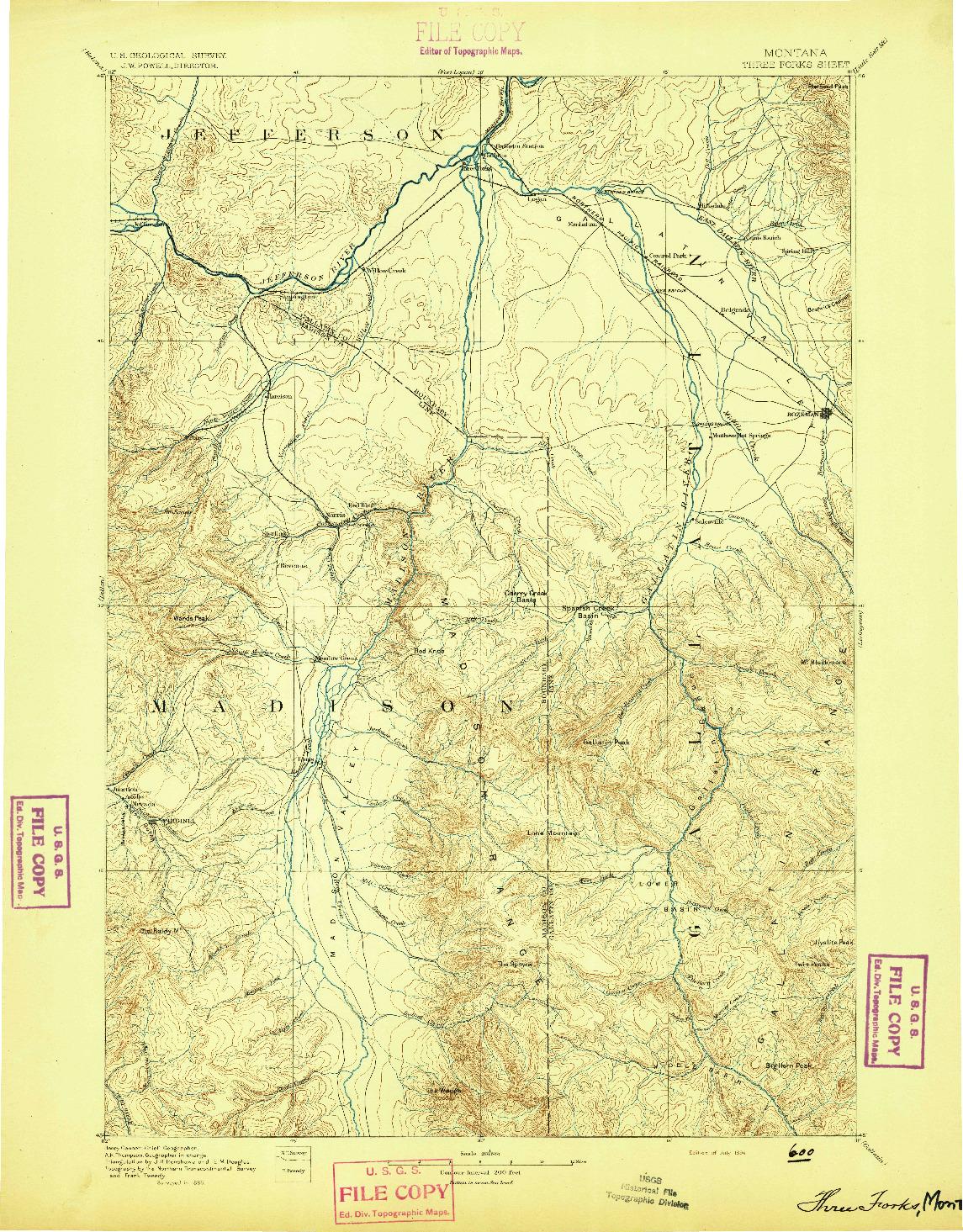 USGS 1:250000-SCALE QUADRANGLE FOR THREE FORKS, MT 1894