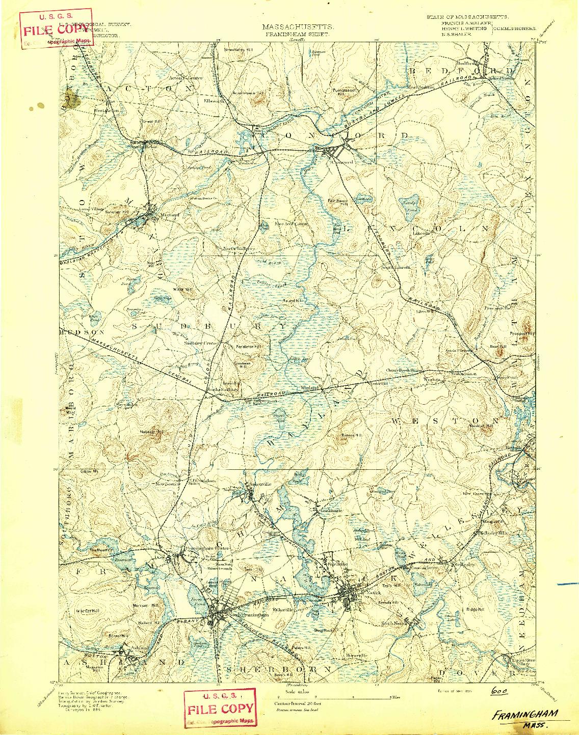 USGS 1:62500-SCALE QUADRANGLE FOR FRAMINGHAM, MA 1894