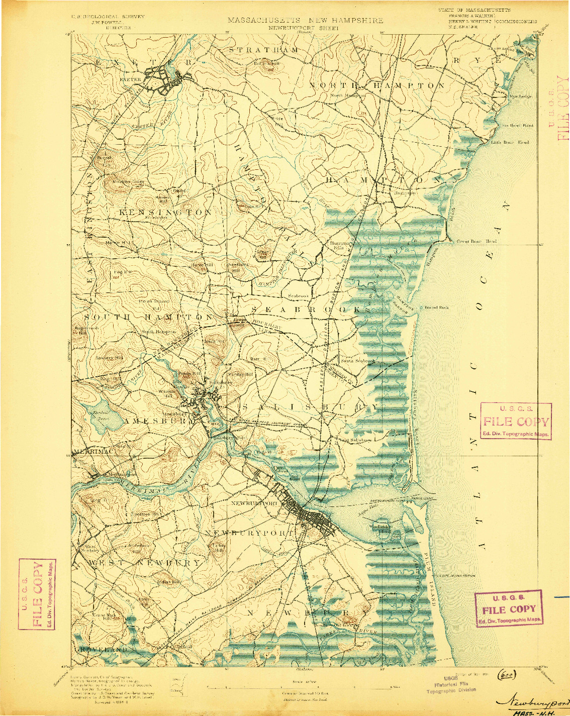 USGS 1:62500-SCALE QUADRANGLE FOR NEWBURYPORT, MA 1894