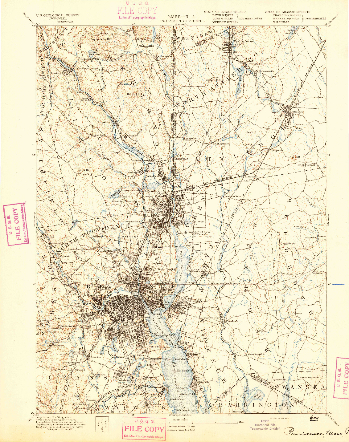 USGS 1:62500-SCALE QUADRANGLE FOR PROVIDENCE, MA 1894