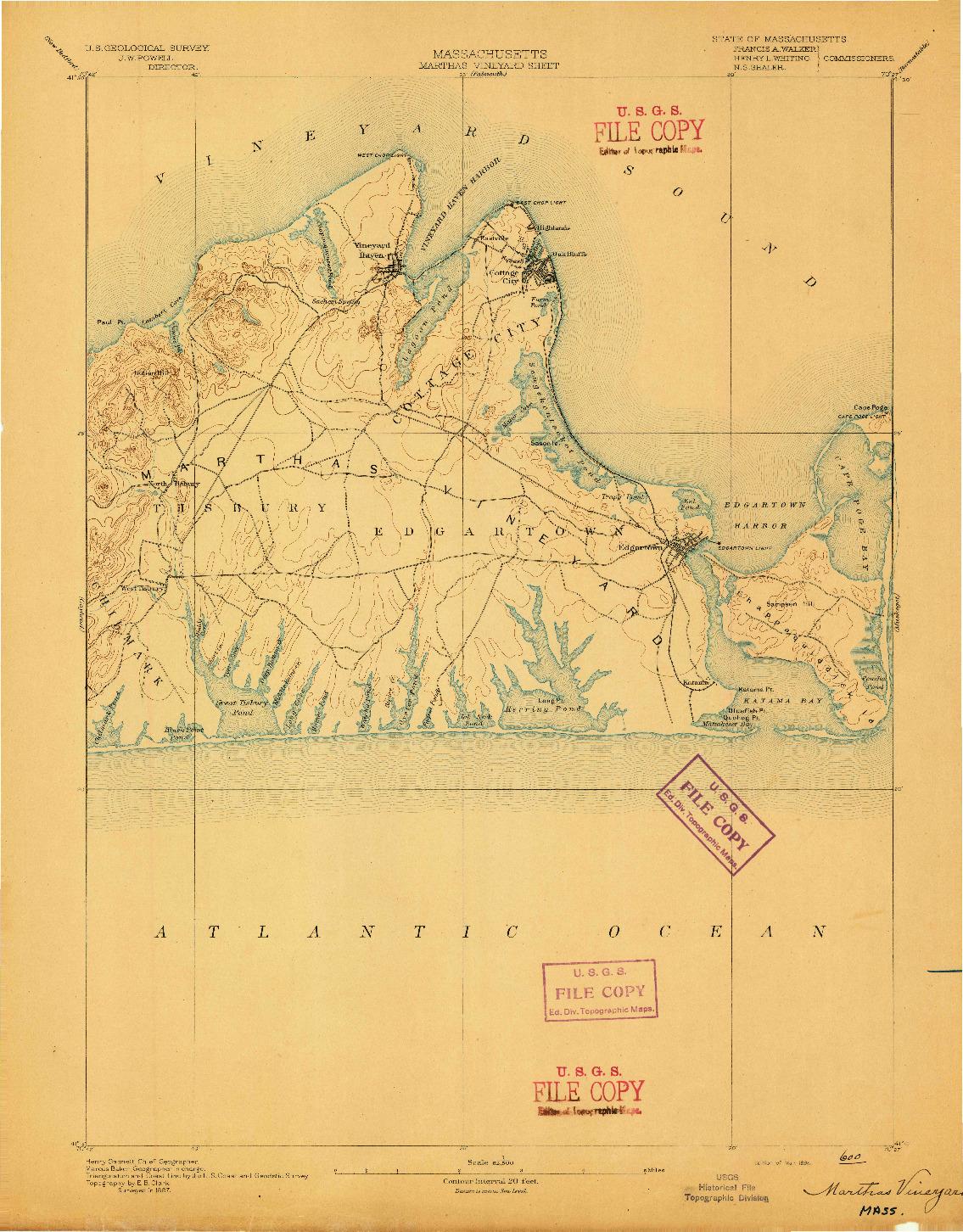 USGS 1:62500-SCALE QUADRANGLE FOR MARTHAS VINEYARD, MA 1894