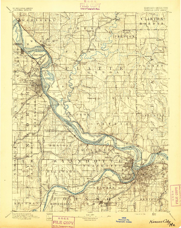 USGS 1:125000-SCALE QUADRANGLE FOR KANSAS CITY, KS 1894