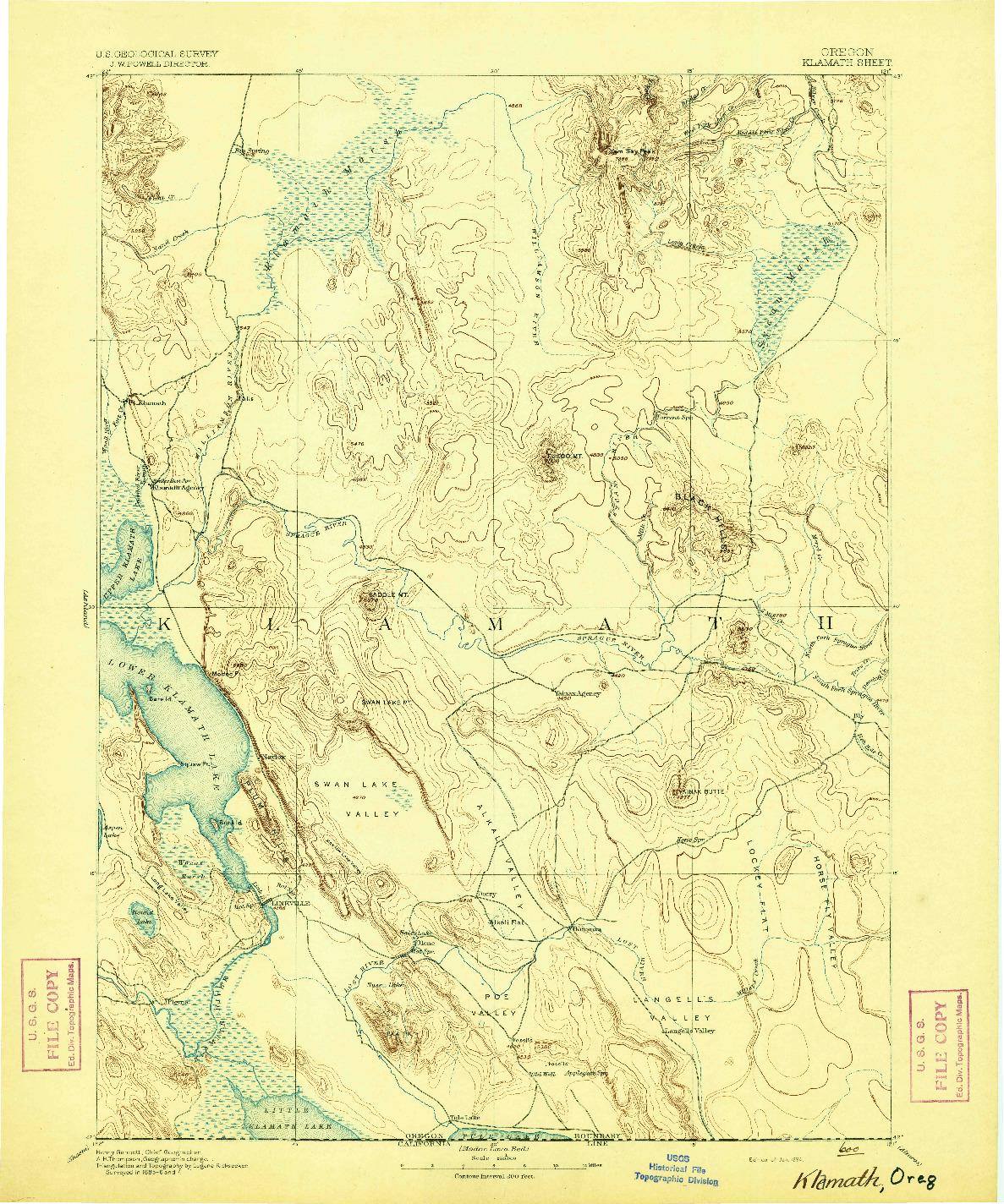 USGS 1:250000-SCALE QUADRANGLE FOR KLAMATH, OR 1894