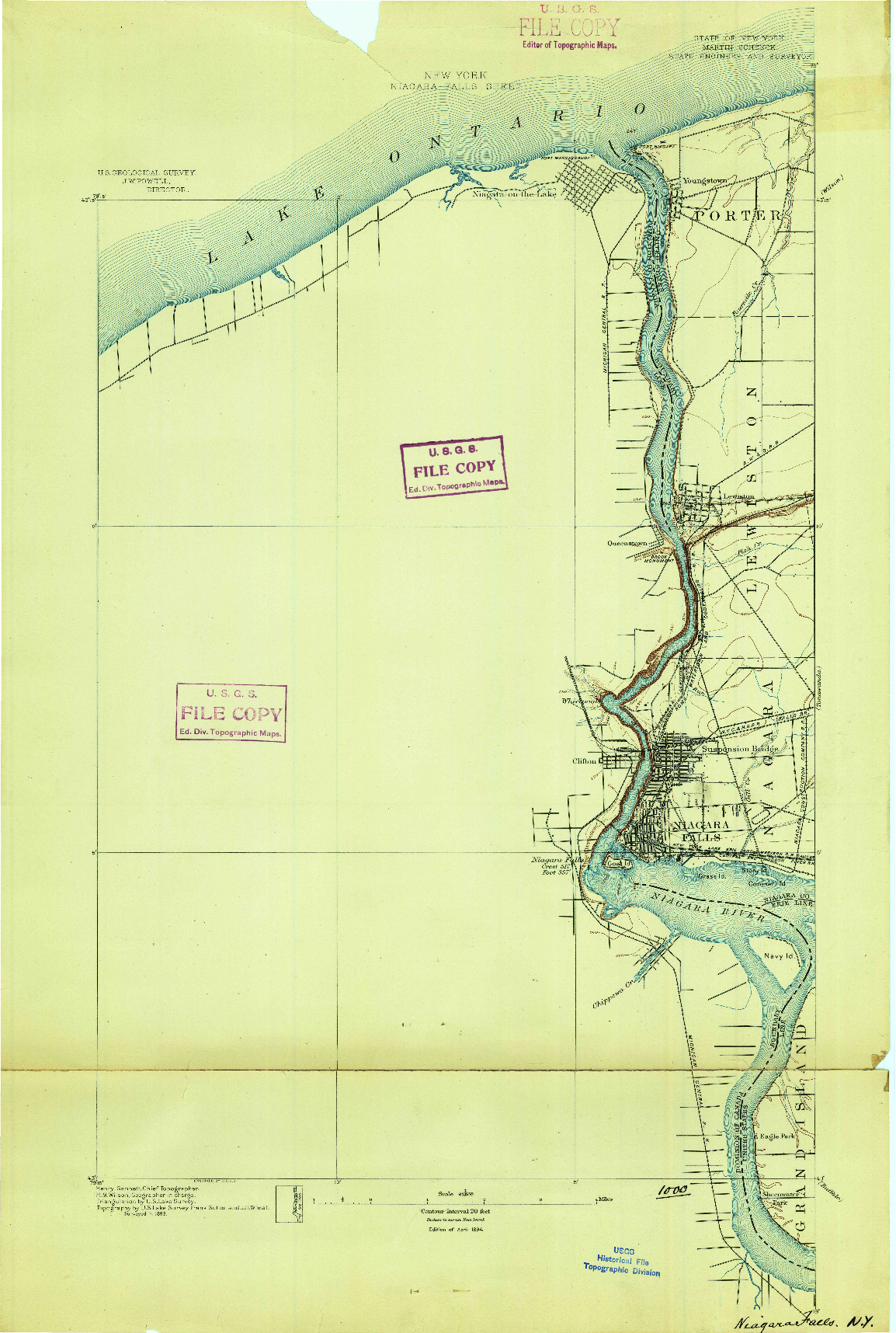 USGS 1:62500-SCALE QUADRANGLE FOR NIAGARA FALLS, NY 1894