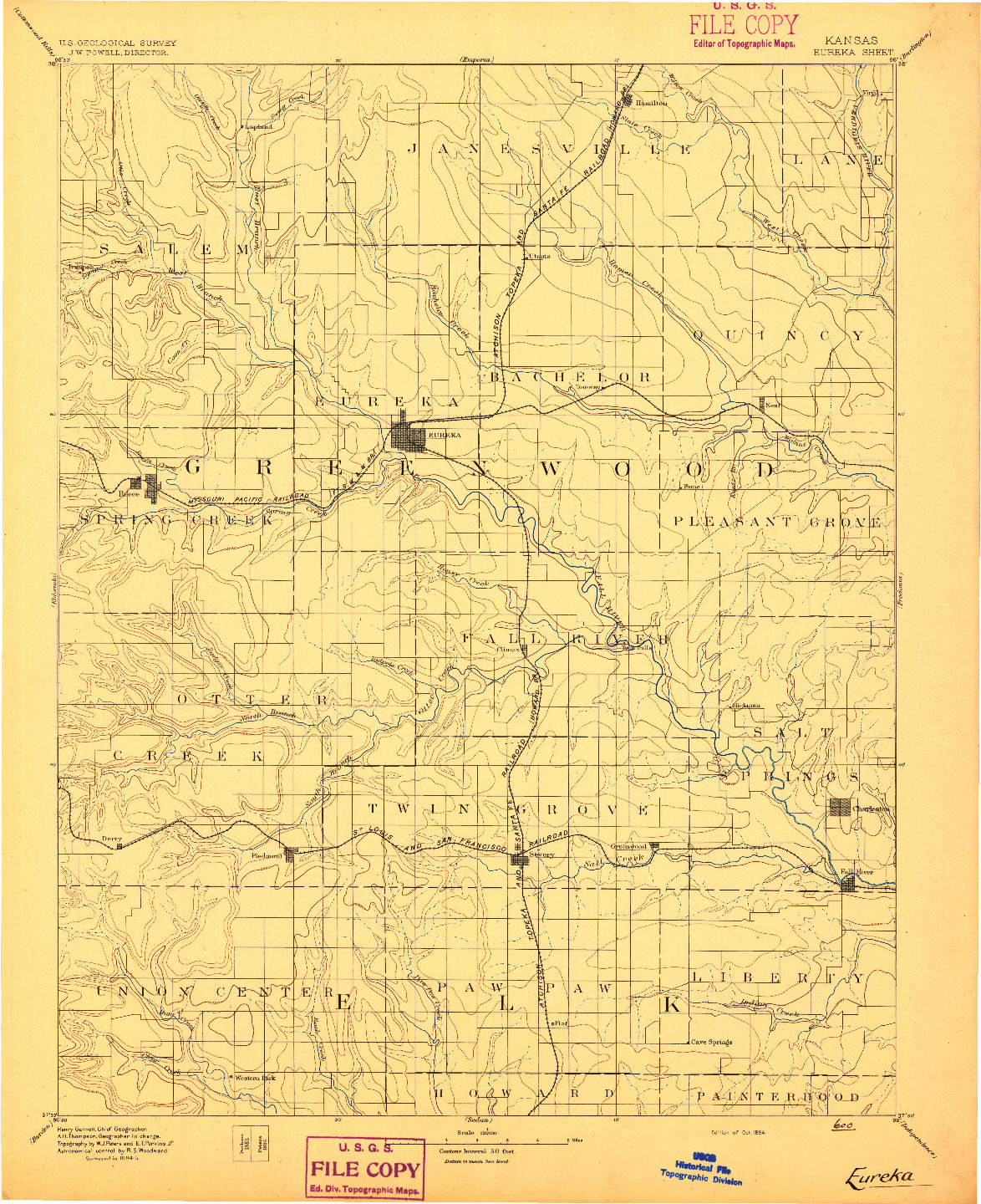 USGS 1:125000-SCALE QUADRANGLE FOR EUREKA, KS 1894