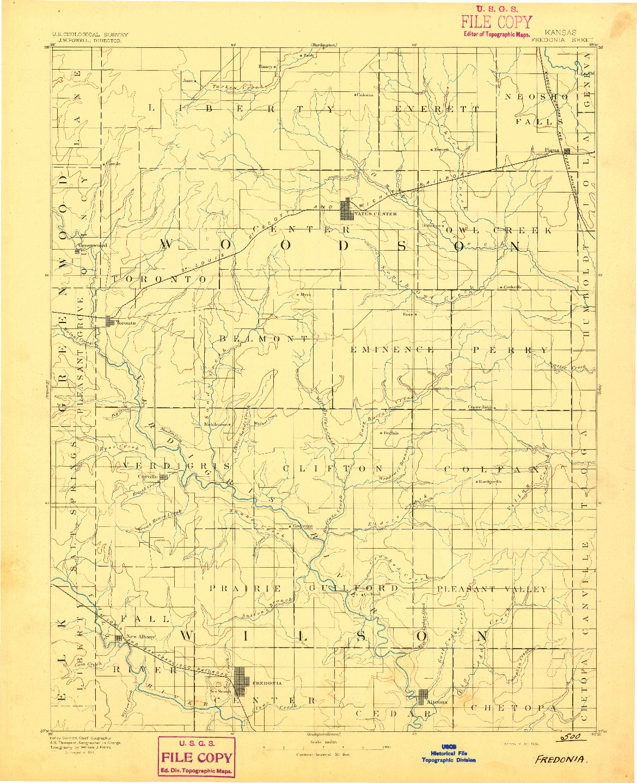 USGS 1:125000-SCALE QUADRANGLE FOR FREDONIA, KS 1894