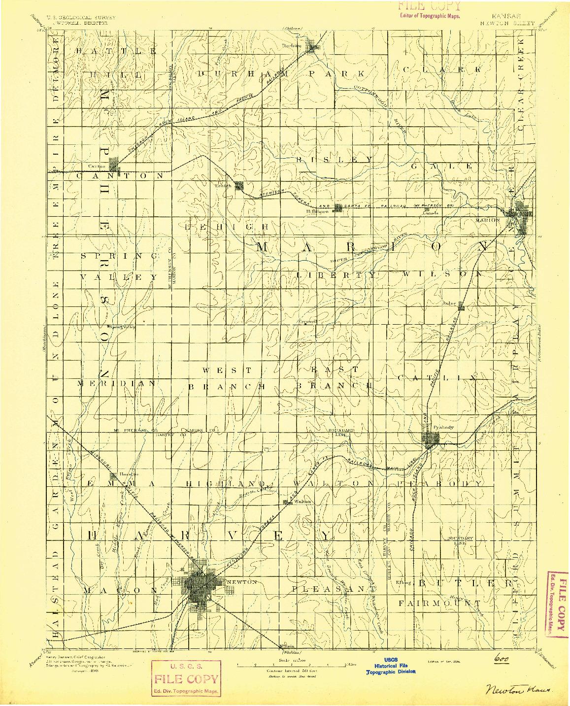 USGS 1:125000-SCALE QUADRANGLE FOR NEWTON, KS 1894