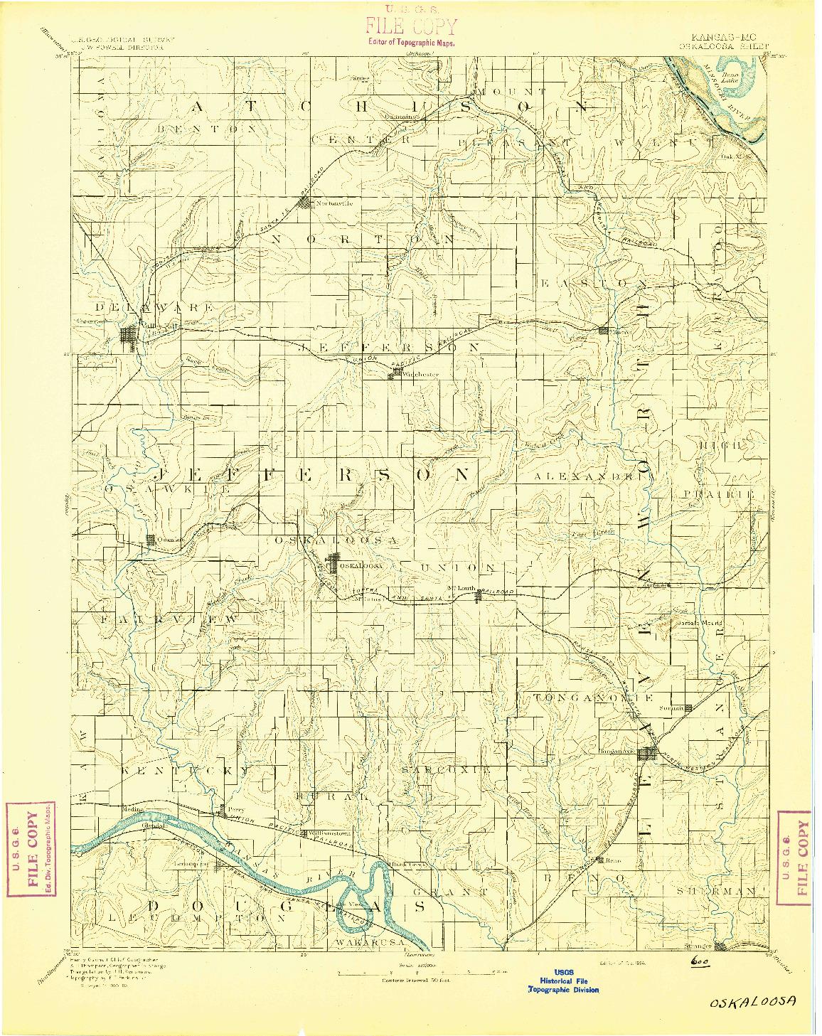 USGS 1:125000-SCALE QUADRANGLE FOR OSKALOOSA, KS 1894