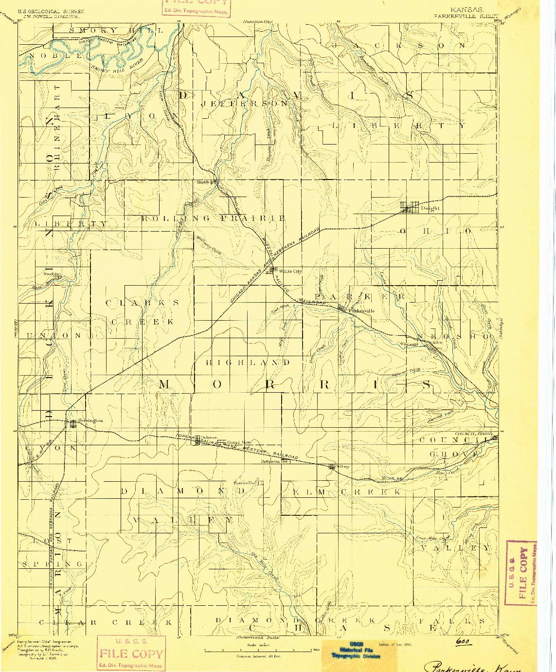 USGS 1:125000-SCALE QUADRANGLE FOR PARKERVILLE, KS 1894