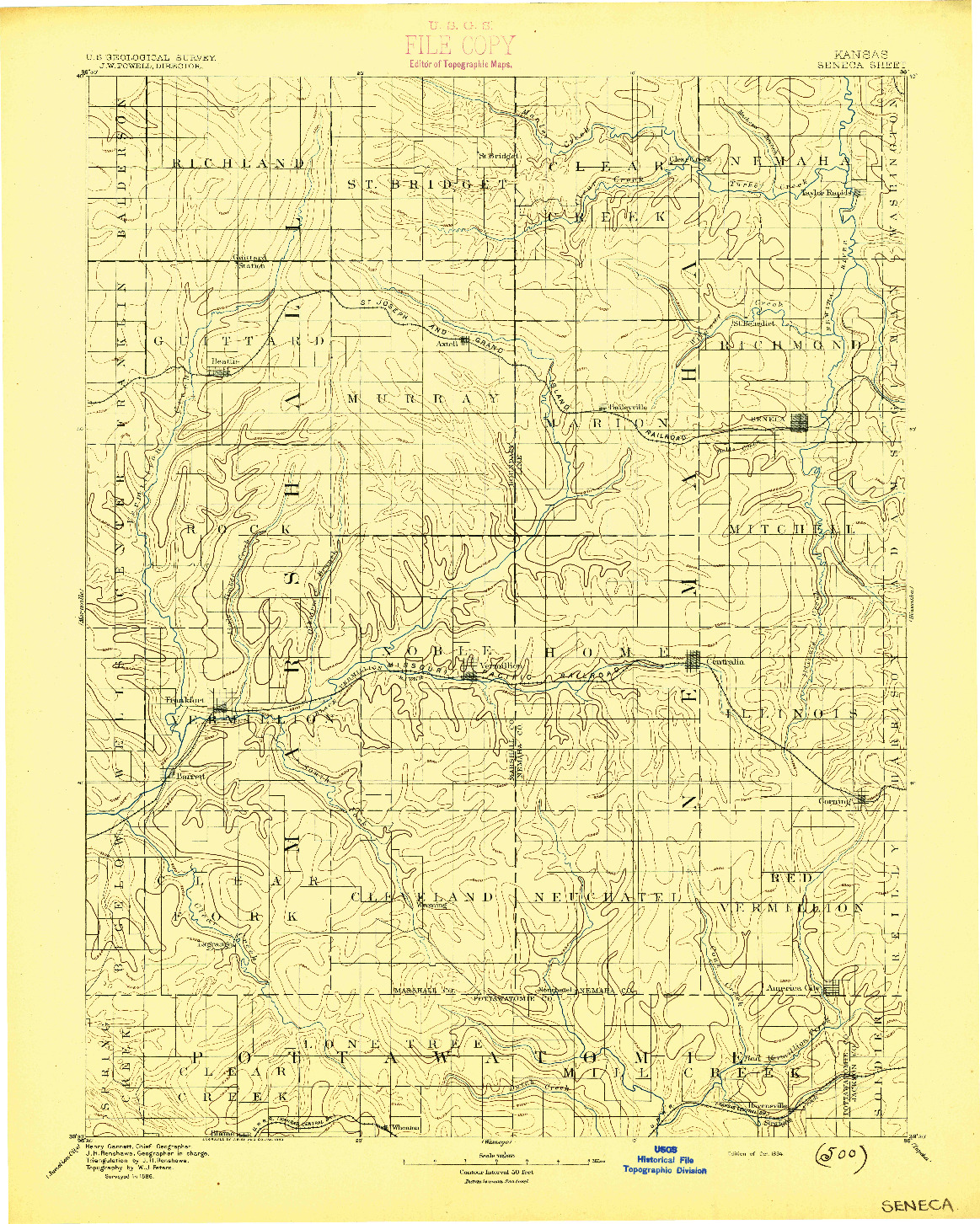 USGS 1:125000-SCALE QUADRANGLE FOR SENECA, KS 1894