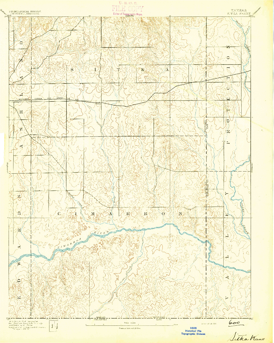USGS 1:62500-SCALE QUADRANGLE FOR SITKA, KS 1894