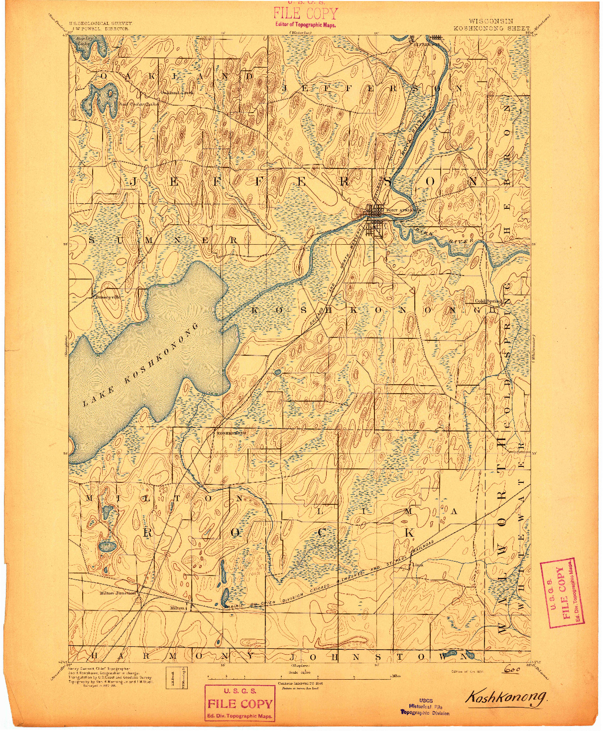 USGS 1:62500-SCALE QUADRANGLE FOR KOSHKONONG, WI 1894