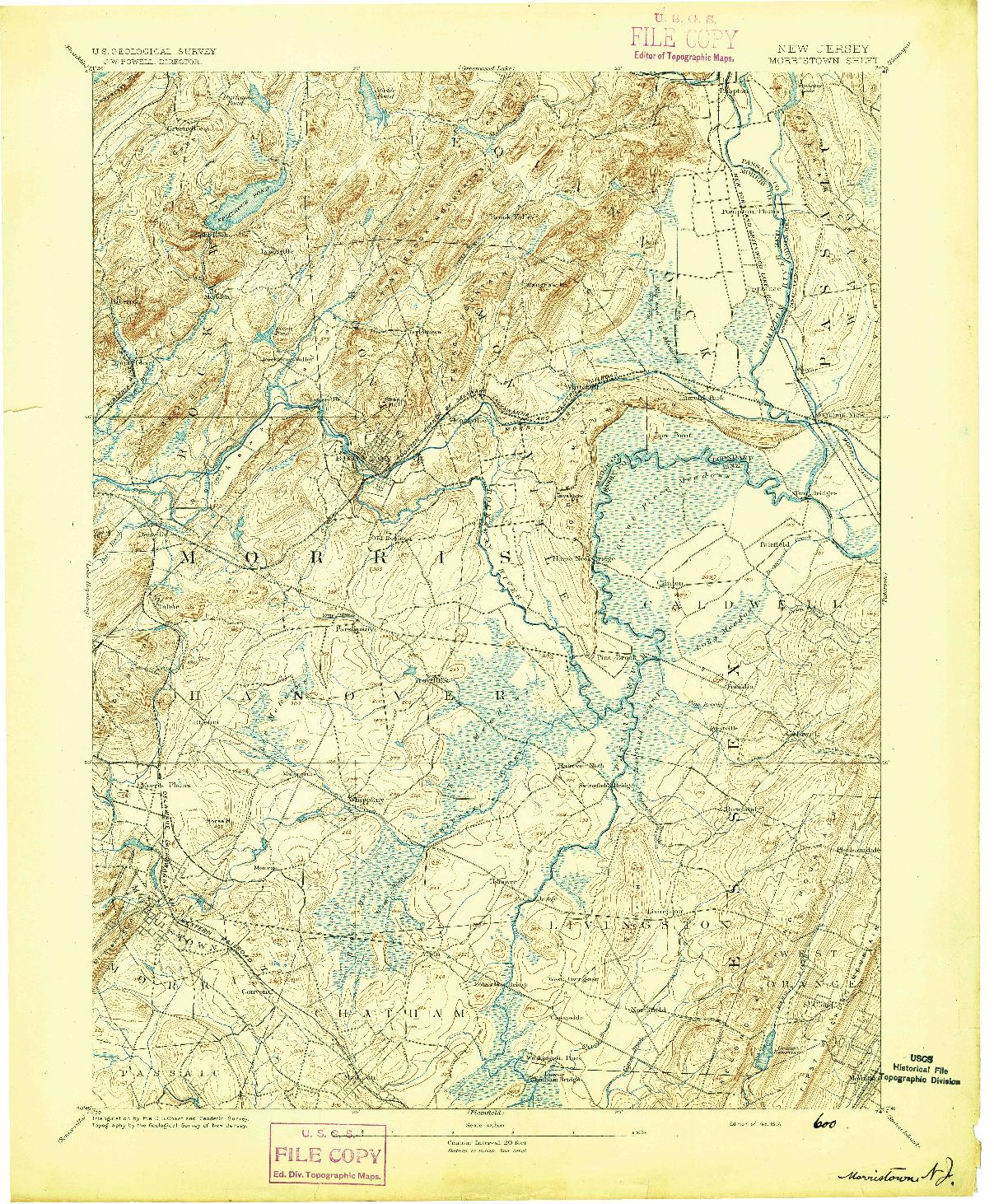 USGS 1:62500-SCALE QUADRANGLE FOR MORRISTOWN, NJ 1894