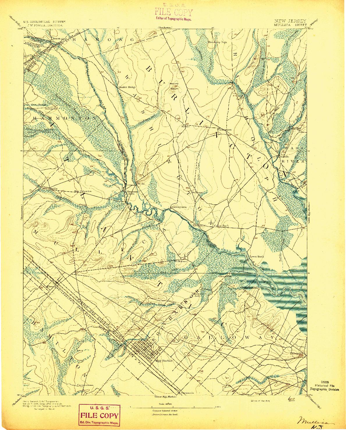 USGS 1:62500-SCALE QUADRANGLE FOR MULLICA, NJ 1894