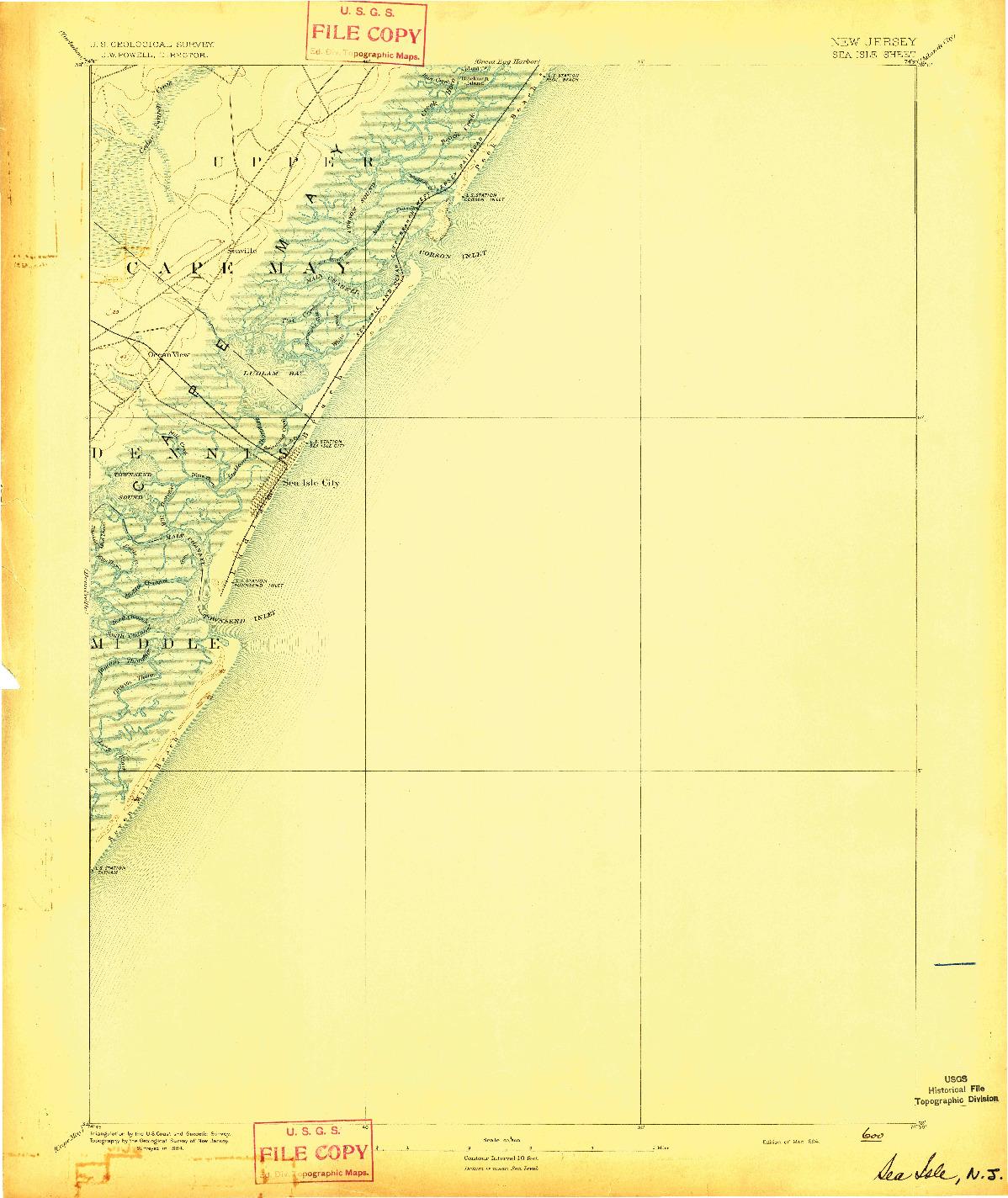 USGS 1:62500-SCALE QUADRANGLE FOR SEA ISLE, NJ 1894