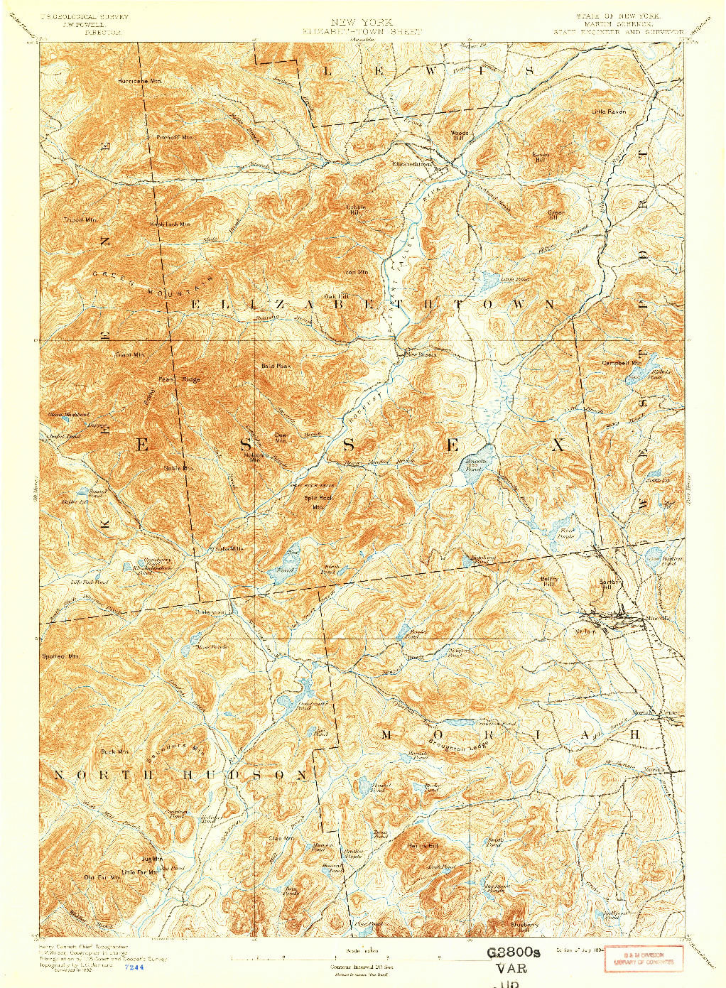 USGS 1:62500-SCALE QUADRANGLE FOR ELIZABETHTOWN, NY 1894
