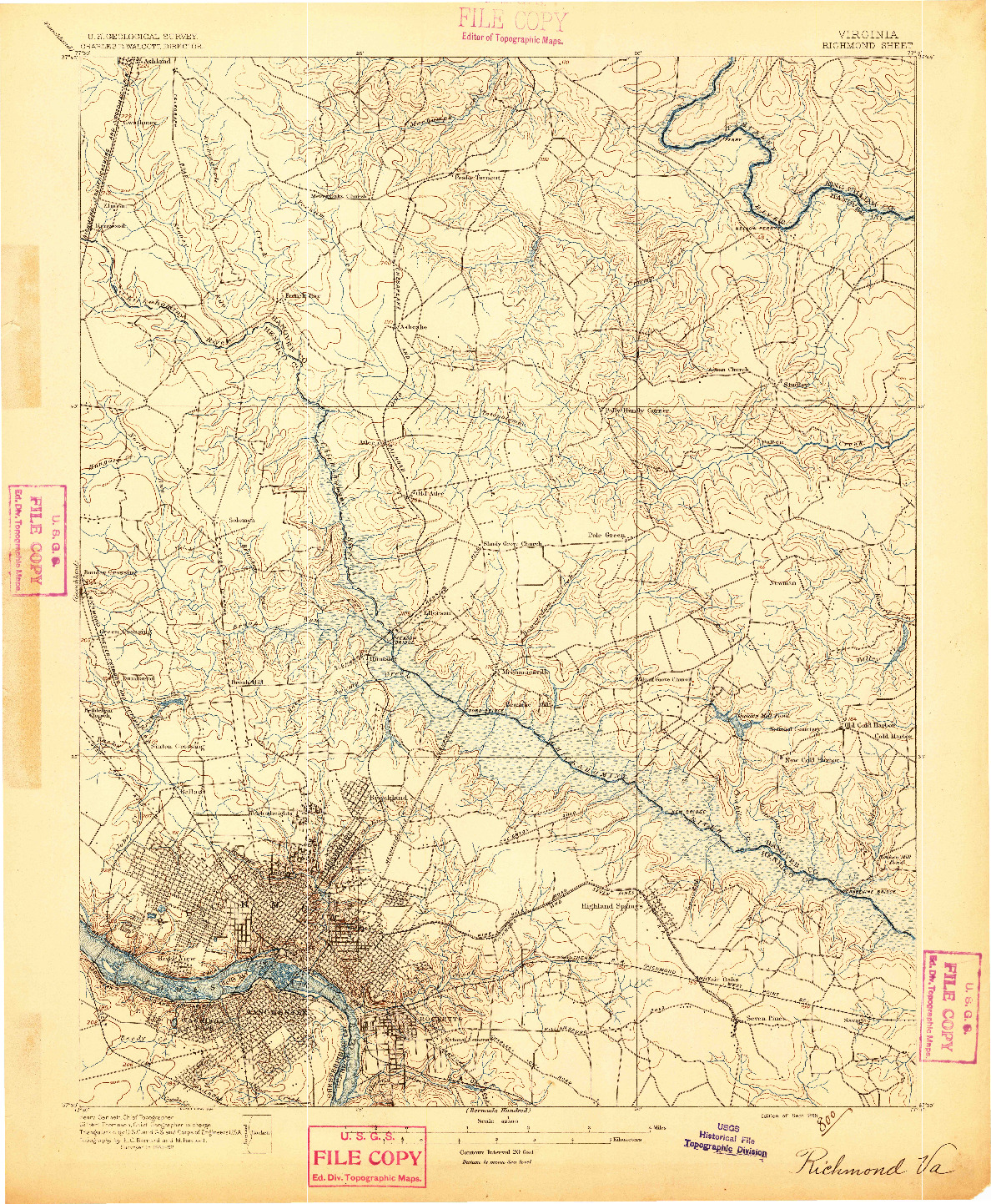 USGS 1:62500-SCALE QUADRANGLE FOR RICHMOND, VA 1895
