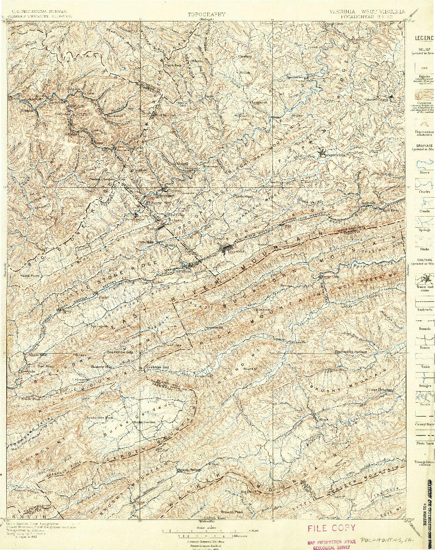 USGS 1:125000-SCALE QUADRANGLE FOR POCAHONTAS, VA 1895