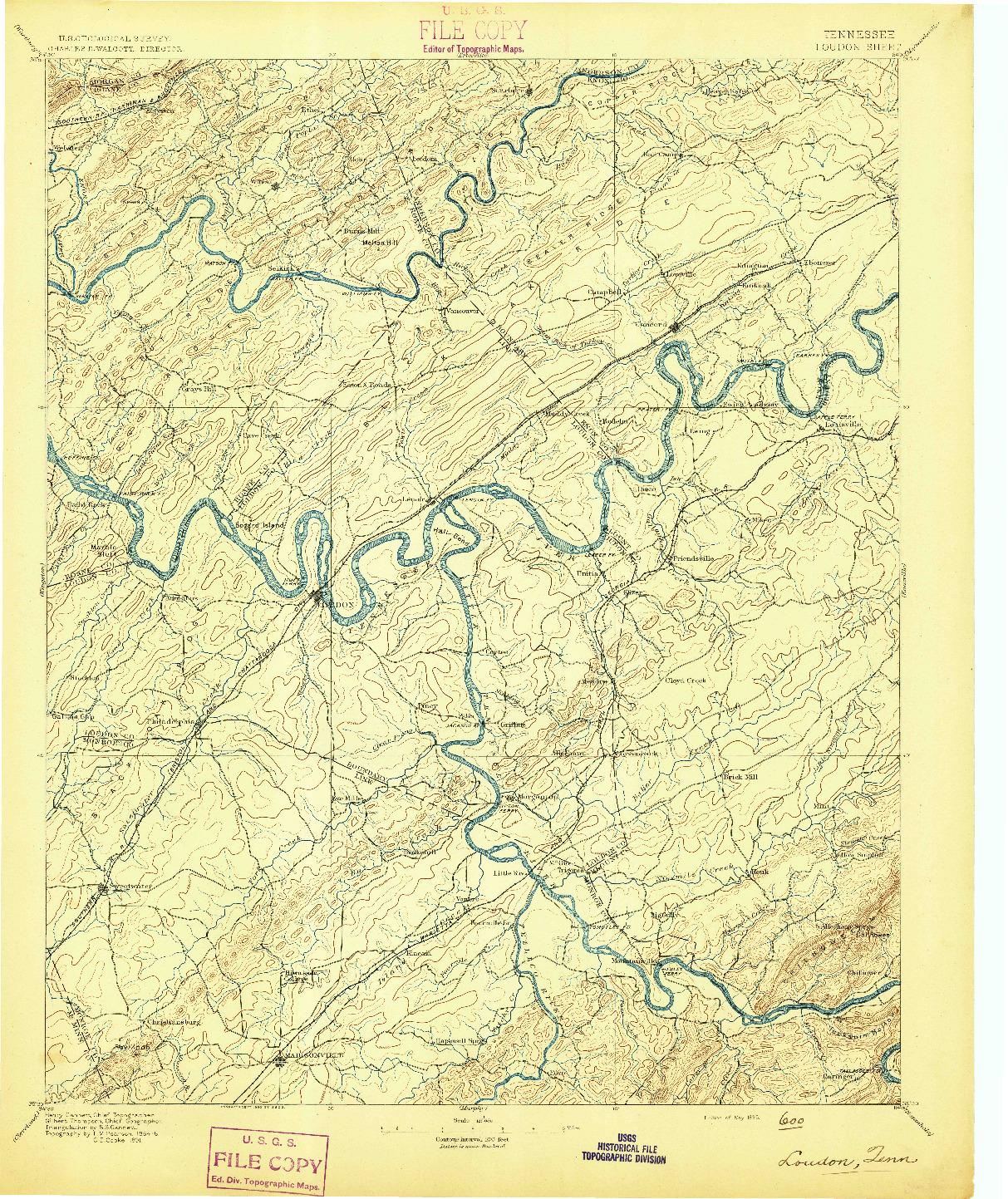 USGS 1:125000-SCALE QUADRANGLE FOR LOUDON, TN 1895