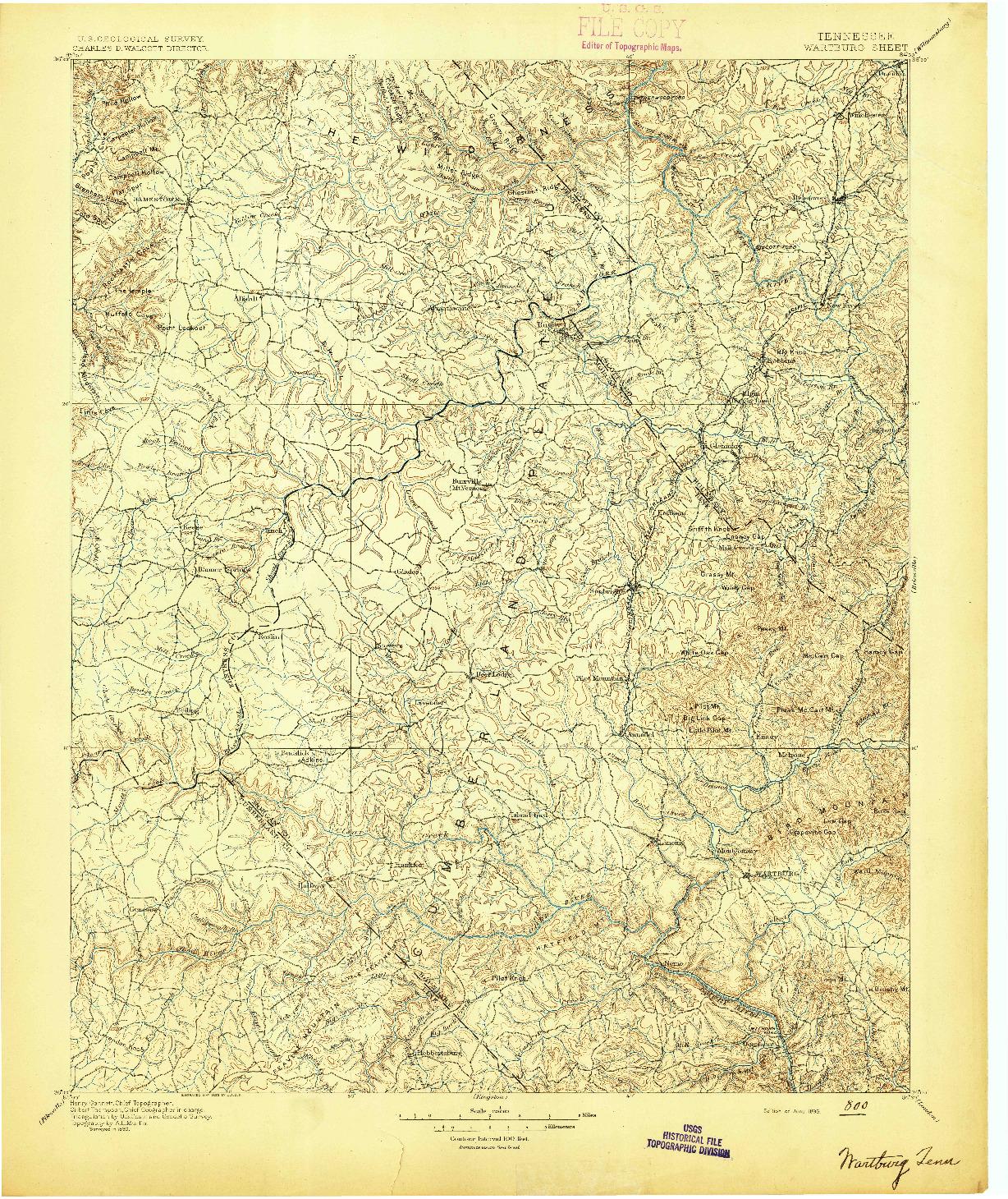 USGS 1:125000-SCALE QUADRANGLE FOR WARTBURG, TN 1895