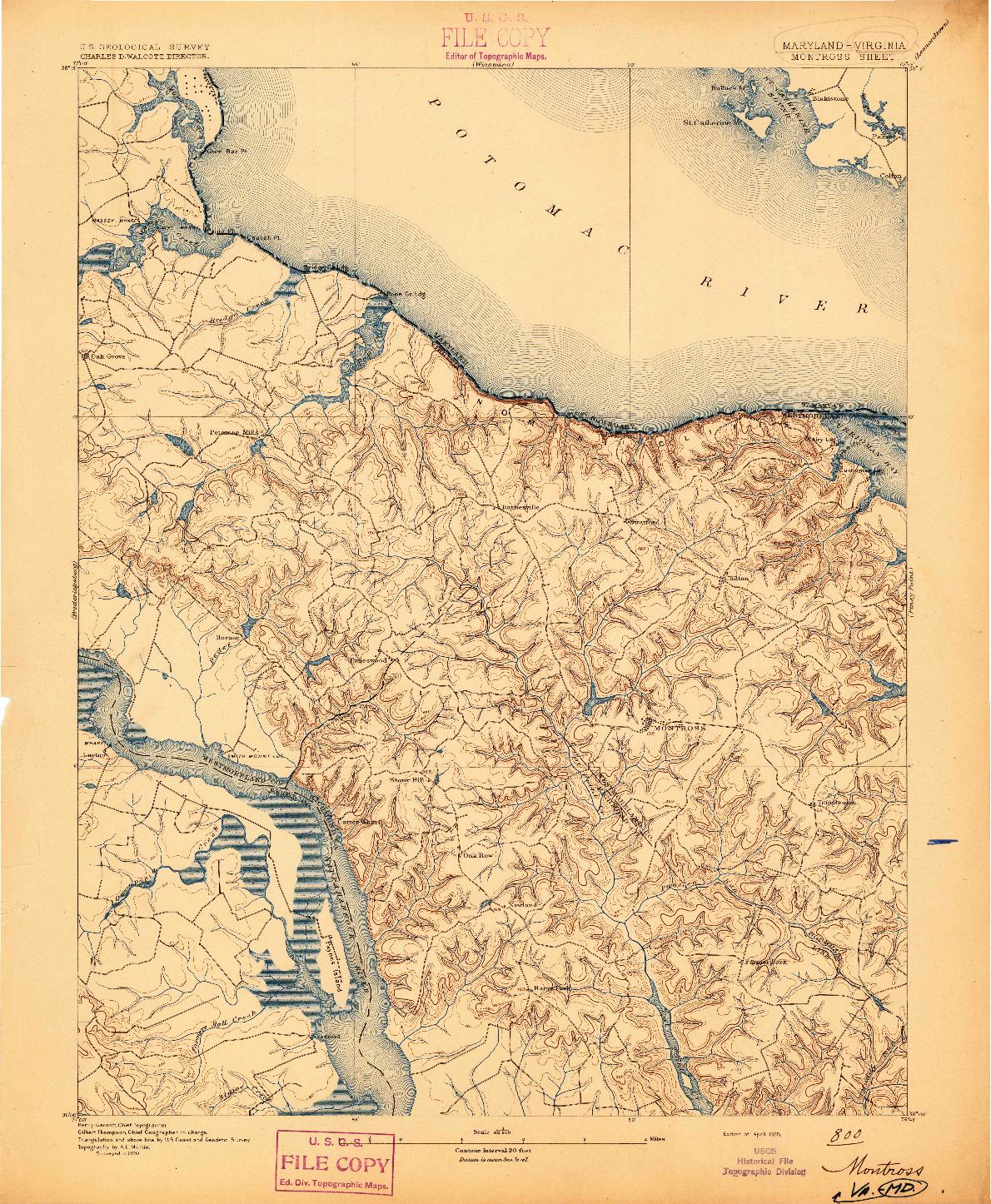 USGS 1:62500-SCALE QUADRANGLE FOR MONTROSS, MD 1895