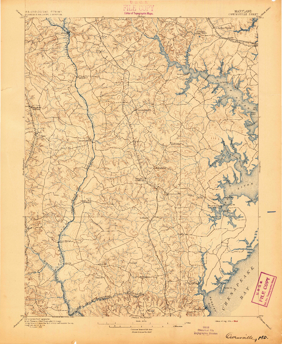 USGS 1:62500-SCALE QUADRANGLE FOR OWENSVILLE, MD 1895