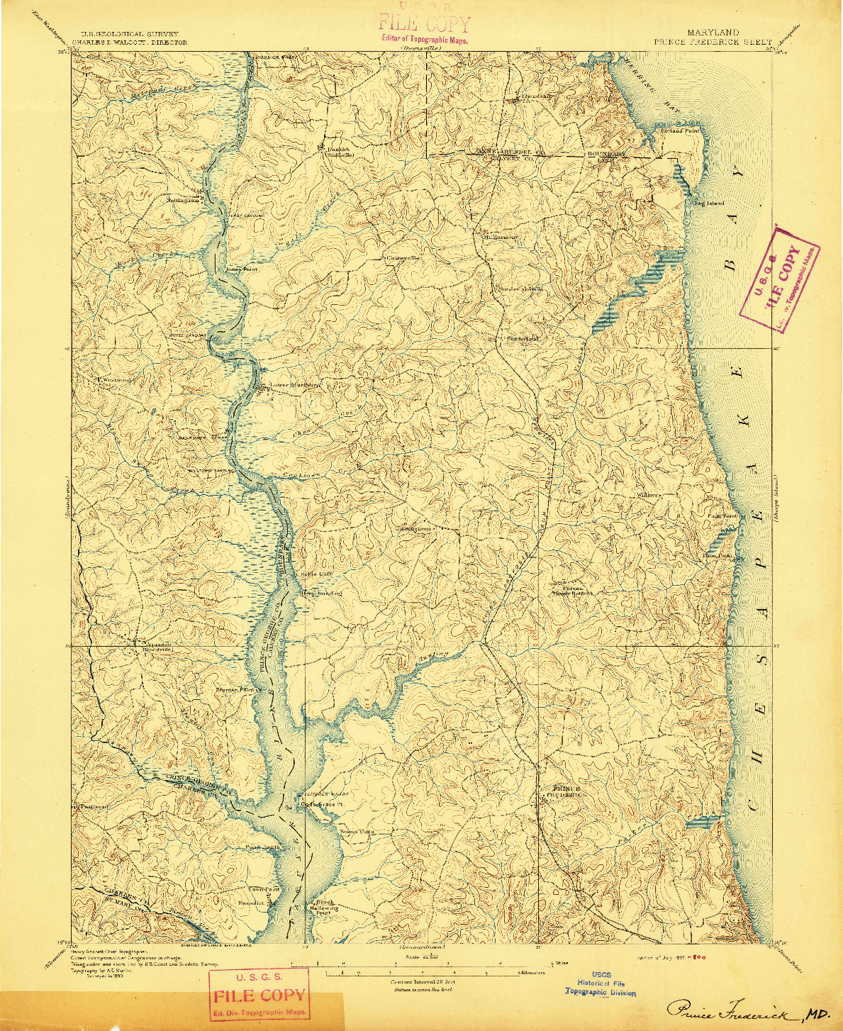 USGS 1:62500-SCALE QUADRANGLE FOR PRINCE FREDERICK, MD 1895