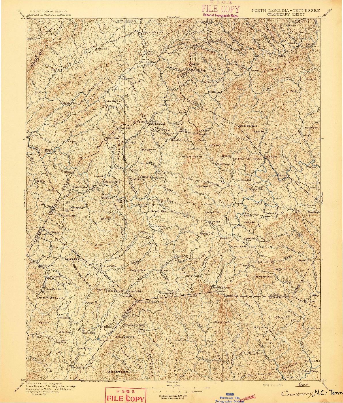 USGS 1:125000-SCALE QUADRANGLE FOR CRANBERRY, NC 1895
