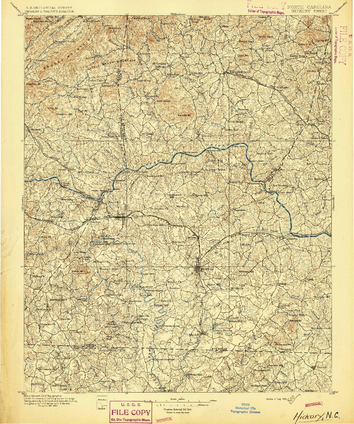 USGS 1:125000-SCALE QUADRANGLE FOR HICKORY, NC 1895