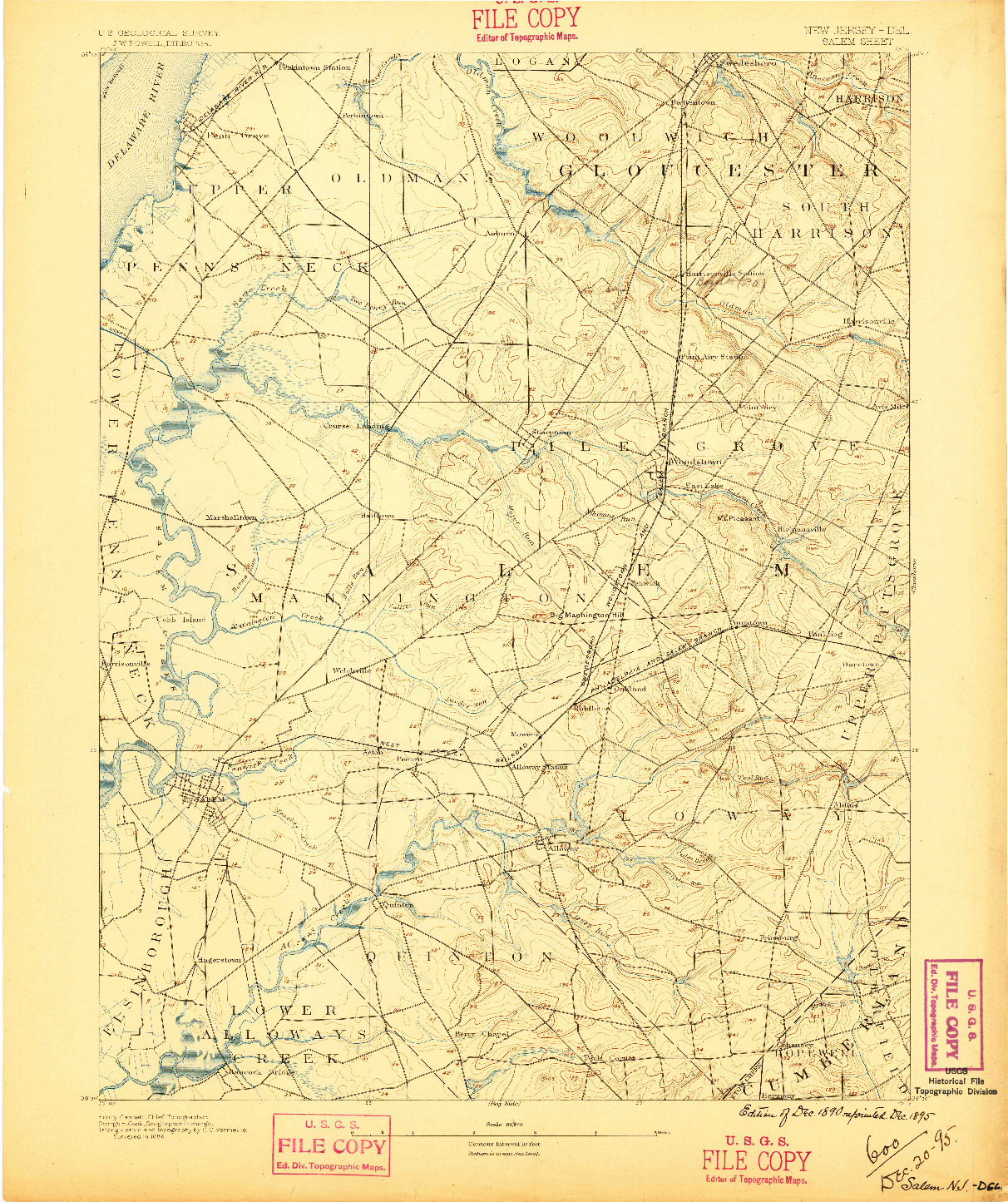 USGS 1:62500-SCALE QUADRANGLE FOR SALEM, NJ 1890
