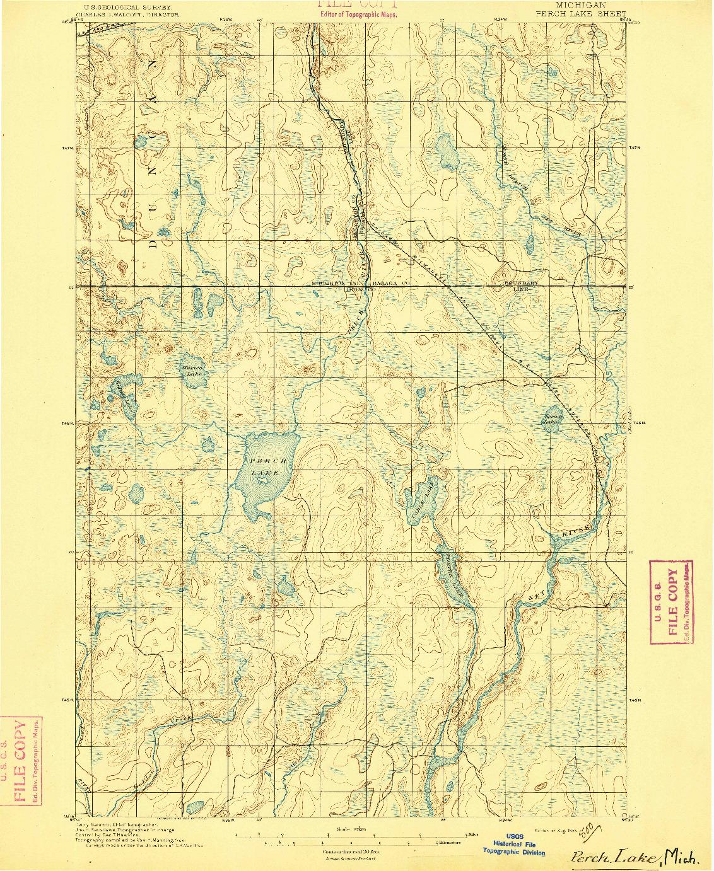 USGS 1:62500-SCALE QUADRANGLE FOR PERCH LAKE, MI 1895