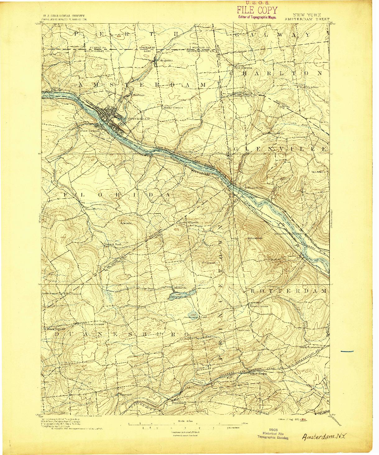 USGS 1:62500-SCALE QUADRANGLE FOR AMSTERDAM, NY 1895