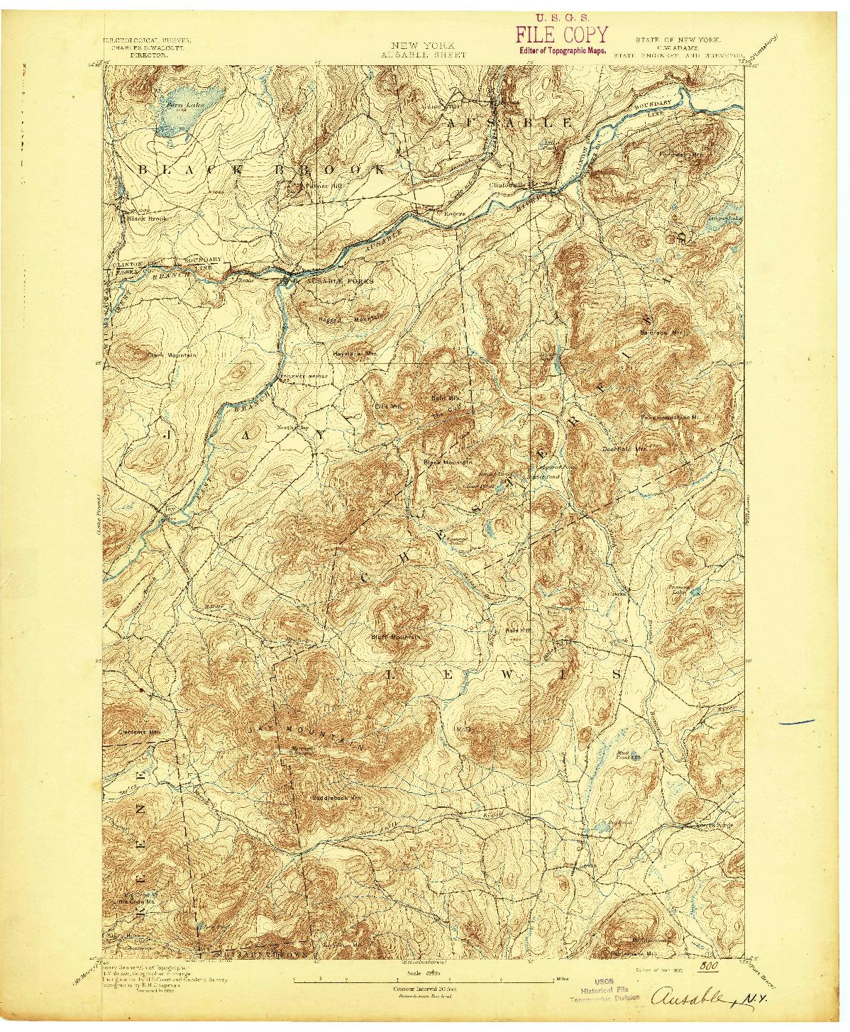 USGS 1:62500-SCALE QUADRANGLE FOR AUSABLE, NY 1895