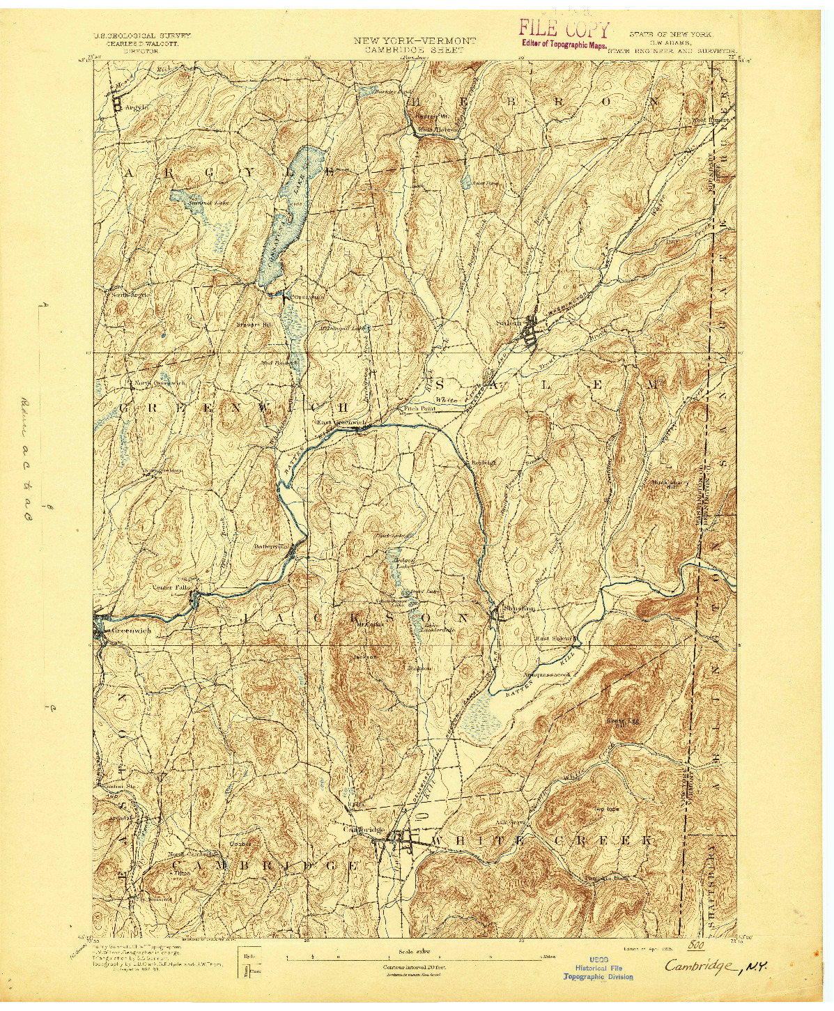 USGS 1:62500-SCALE QUADRANGLE FOR CAMBRIDGE, NY 1895