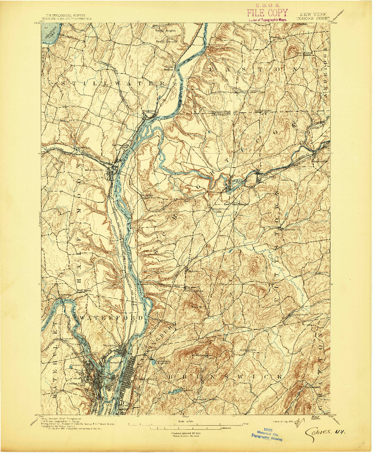 USGS 1:62500-SCALE QUADRANGLE FOR COHOES, NY 1895
