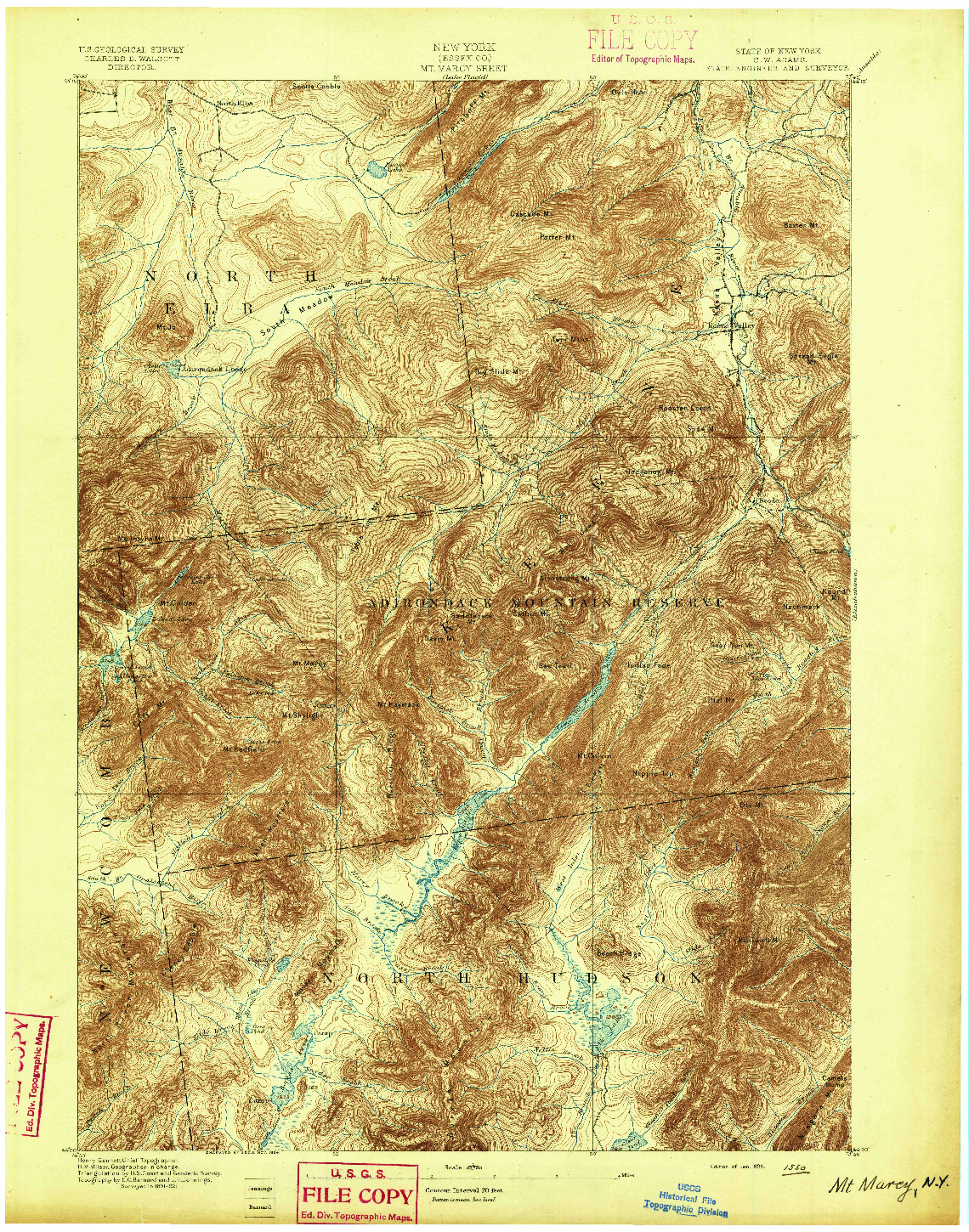 USGS 1:62500-SCALE QUADRANGLE FOR MT. MARCY, NY 1895