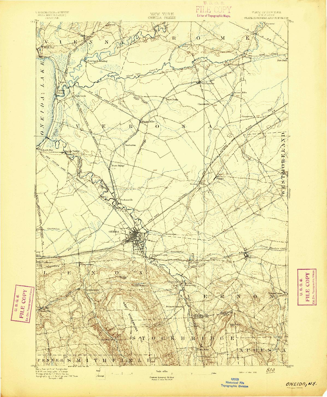 USGS 1:62500-SCALE QUADRANGLE FOR ONEIDA, NY 1895