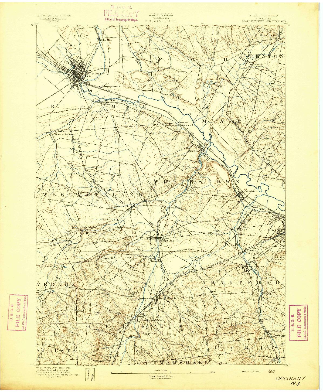 USGS 1:62500-SCALE QUADRANGLE FOR ORISKANY, NY 1895